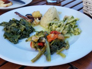 small appetizer plate of greens and vegetables grown in the garden